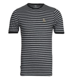 Luke 1977 Zucci All Over Black & Mid Marl Grey Stripe T-Shirt