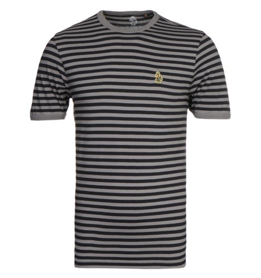 Luke 1977 Zucci All Over Mid Grey & Black Stripe T-Shirt