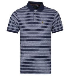 LUKE 1977 Navy Bi Tram Short Sleeve Polo Shirt
