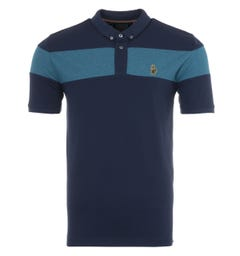 Luke 1977 Sharkey Contrast Chest Panel Polo Shirt - Navy Adriatic