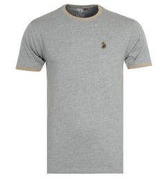 Luke 1977 Looper Contrast Tipped Crew Neck T-Shirt - Grey