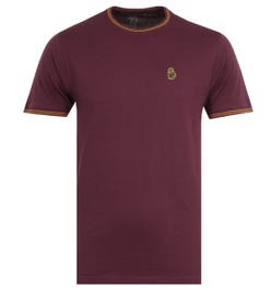 Luke 1977 Looper Contrast Tipped Crew Neck T-Shirt - Shiraz