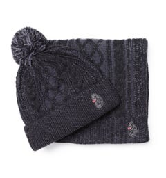 Luke 1977 Baigib Charcoal Grey Hat & Scarf Gift Set