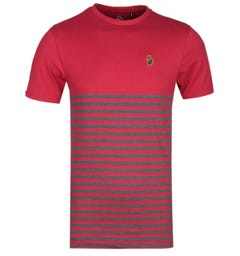 LUKE 1977 Breton Stripe Panel Red T-Shirt