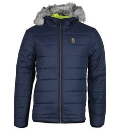LUKE 1977 South Far Faux Fur Hooded Navy Puffer Jacket