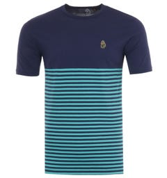 Luke 1977 Low Breton Stripe Crew Neck T-Shirt - Patriot Blue