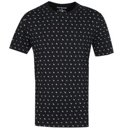 True Religion Monogram Print Black T-Shirt