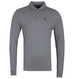 Luke 1977 Long Boycie Long Sleeve Grey Polo Shirt