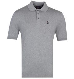 Luke 1977 Tungsten Grey Knitted Polo Shirt