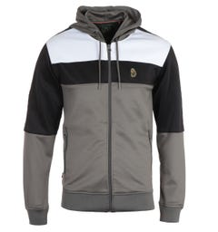 Luke 1977 Baldur Grey Colour Block Zip Hooded Sweatshirt