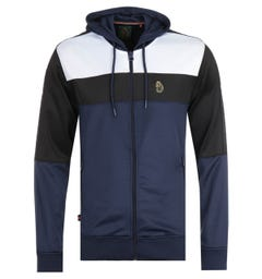 Luke 1977 Baldur Colour Block Zip Hooded Sweatshirt - Navy