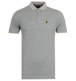 Luke 1977 Ricky Gold Tipped Grey Polo Shirt
