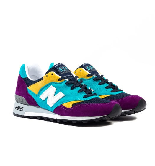 New Balance Made In England M577 Purple & Blue & Yellow Suede Trainers