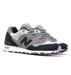 New Balance Made In England M577 Grey & Black Suede Trainers