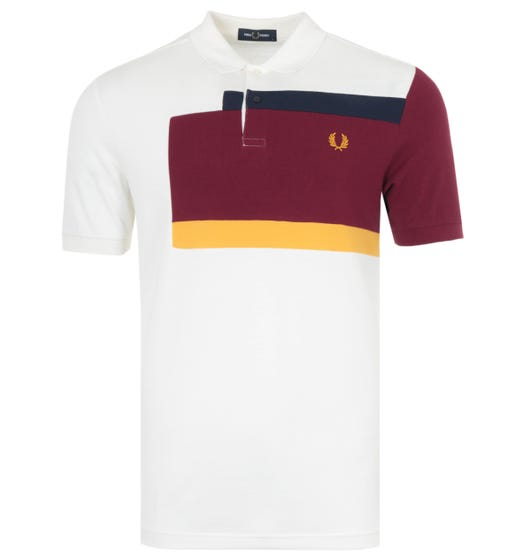 Fred Perry Abstract Panel Polo Shirt - Snow White