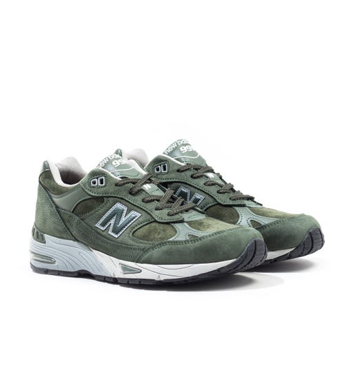 New Balance 991 Made In England Dark Green & Grey Suede Trainers