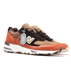 New Balance M991 Made In England Green & Brown Leather Trainers