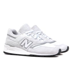 New Balance M997 Made In USA White & Grey Suede Trainers
