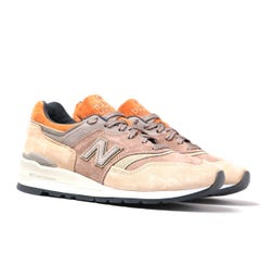 New Balance M997 Beige With Orange Detail Suede Trainers
