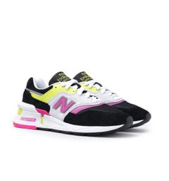 New Balance 997 Made in USA Sportstyle Neon Yellow & Pink with Black & White Suede Trainers