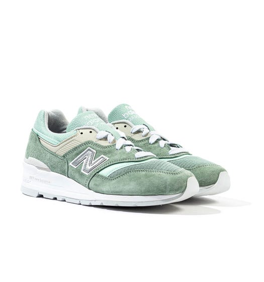 New Balance 997 Made in the USA Mint Green Suede Trainers