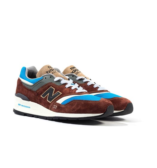 New Balance 997 Made in the USA Brown, Grey & Blue Suede Trainers
