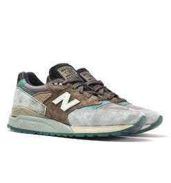 New Balance Made in USA 998 Khaki Green & Brown Suede Trainers