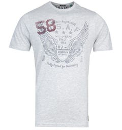 MA-1 P38 Angel Wings Print Grey T-Shirt