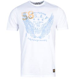 MA-1 P38 Angel Wings Print White T-Shirt