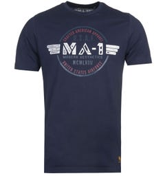 MA-1 F16 Airforce Logo Print Navy T-Shirt