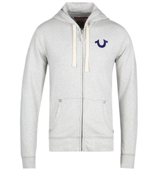 True Religion Blue Logo Oatmeal Zip Hoodie