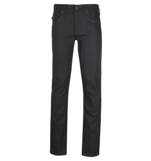 True Religion Ricky Relaxed Straight Fit Flap Blackout Black Denim Jeans