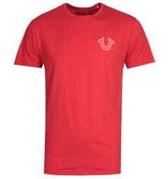 True Religion Double Puff Ruby Red Crew Neck T-Shirt