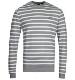 Lyle & Scott Breton Stripe Grey & White Sweatshirt