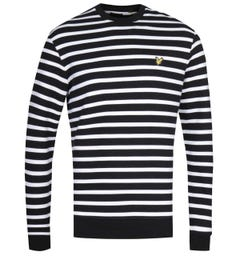 Lyle & Scott Breton Stripe Jet Black & White Sweatshirt