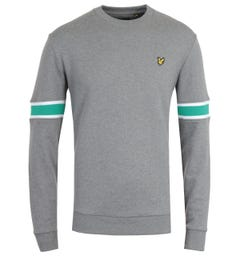 Lyle & Scott Mid Grey Marl Sleeve Rib Insert Sweatshirt