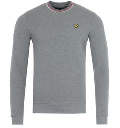 Lyle & Scott Tipped Pique Sweatshirt - Mid Grey Marl