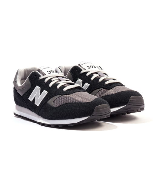 New Balance 393 Suede & Mesh Trainers - Black & Grey