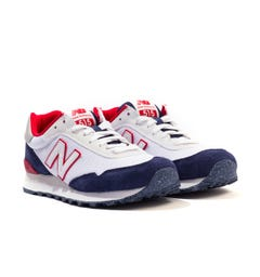New Balance 515 Suede Trainers - White & Navy