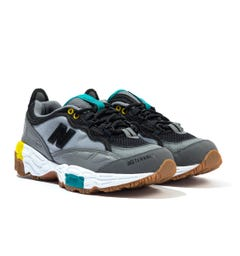 New Balance 801 Black Mesh With Grey Leather Detail Trainers