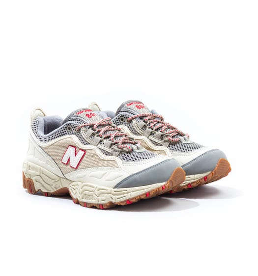 New Balance 801 Cream with Team Red & Grey Trainers