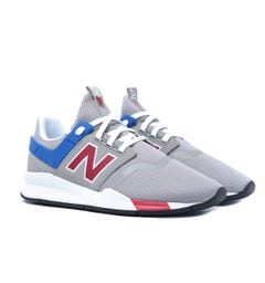 New Balance 247 Stone Grey With Red And Blue Mesh Trainers