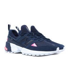 New Balance 574 Neon Pink Detail Navy With White Suede Trainers