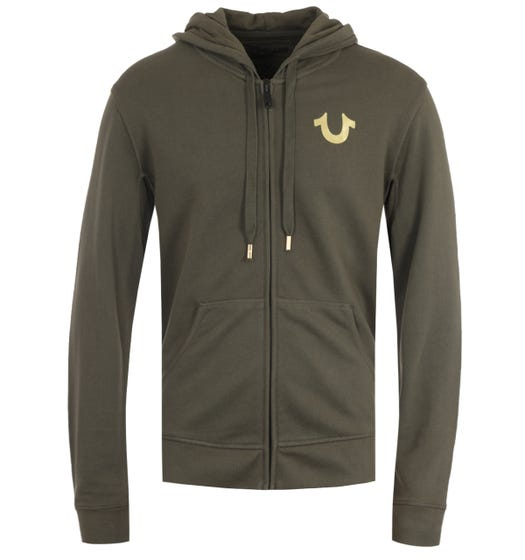 True Religion Double Puff Green & Gold Zip Hooded Sweatshirt