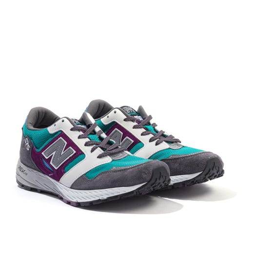 New Balance Trail 575 Made In England  Suede & Mesh Trainers - Grey & Green