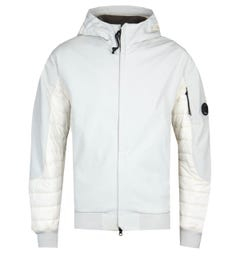 CP Company Soft Shell Arm Lens White Padded Jacket