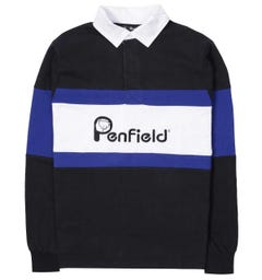 Penfield Cass Logo Black Rugby Shirt
