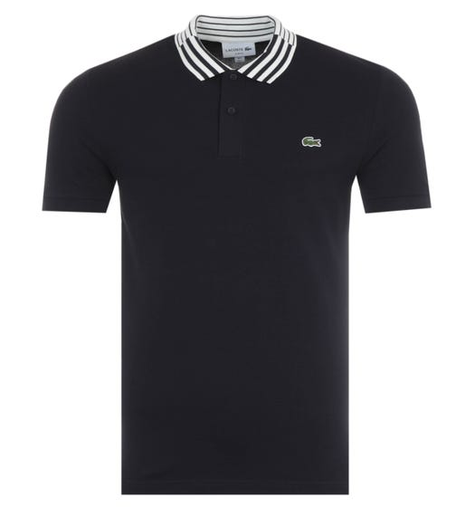 Lacoste Slim Fit Striped Collar Heritage Polo - Navy