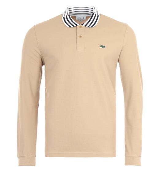 Lacoste Long Sleeve Striped Collar Heritage Polo - Beige