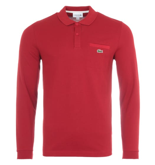 Lacoste ML Homme Long Sleeve CLosed Up Pocket Polo Shirt - Deep Red